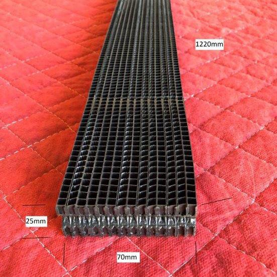 Honeycomb Frigrite 70x25x1220mm Black Flat